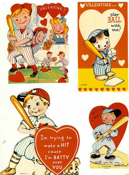 Baseball Themed Valentine's Day Cards
